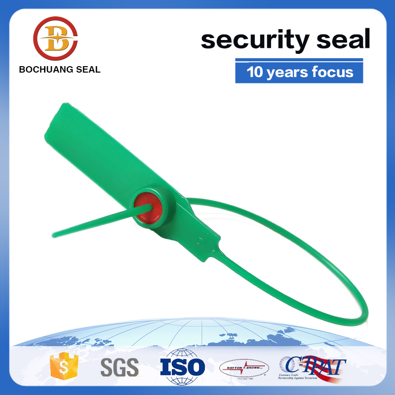 Plastic seal with metal insert lock